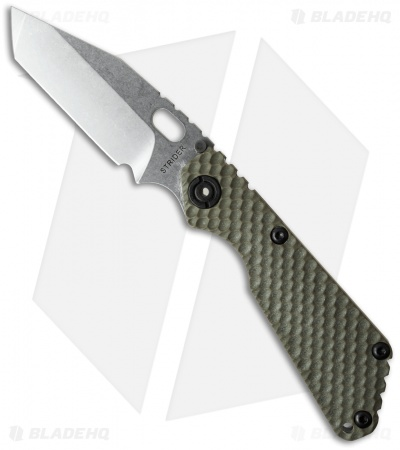 "Strider Knives SnG Tanto Knife OD Green GG Gunner Grip (3.5"" Stonewash)"