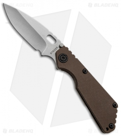 "Strider SnG 3/4 Brown G10 Folding Knife (3.5"" Stonewash Plain) S30V"