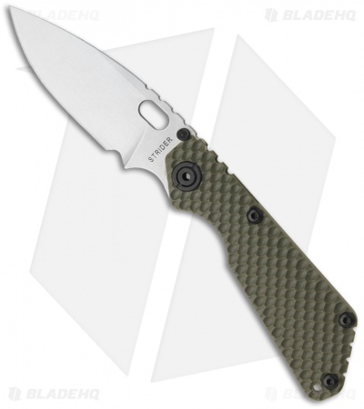 "Strider SnG Green GG Gunner Grip Folding Knife (3.5"" Stonewash Plain)"