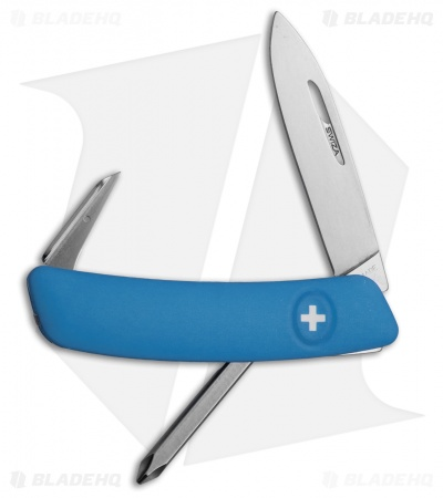 "Swiza D02 Swiss Pocket Knife Blue (3"" Satin)"