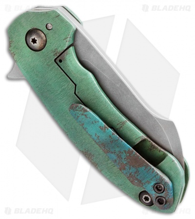 TuffKnives Custom Mini Tanic Flipper Knife Green Titanium