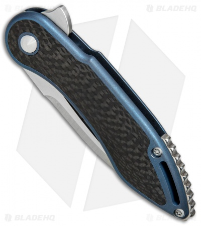 "Todd Begg Steelcraft Mini Glimpse Frame Lock Knife CF/ Blue Ti (3"" Satin)"