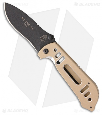 "TOPS Knives Mil-Spie 3.5 Folding Knife Coyote Tan Aluminum (3.5"" Black)"