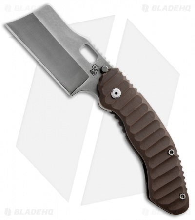 Trouble Blades Custom Debt Collector Knife Brown G-10 Folding Cleaver