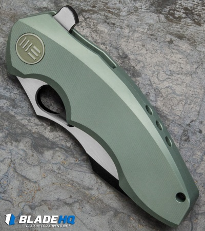 "WE Knife Co. 605D Frame Lock Knife Green Titanium (3"" Black, Satin)"