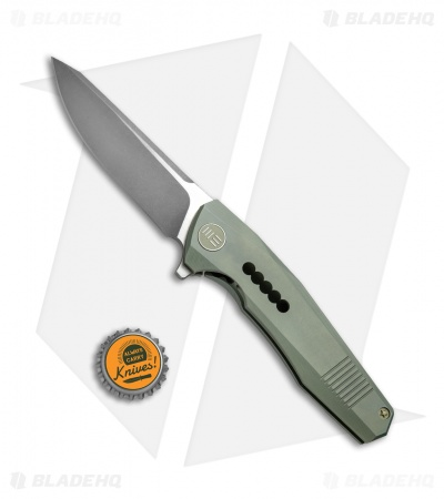 "WE Knife Co. 603H Frame Lock Knife Green Titanium (3.6"" Stonewash, Satin)"