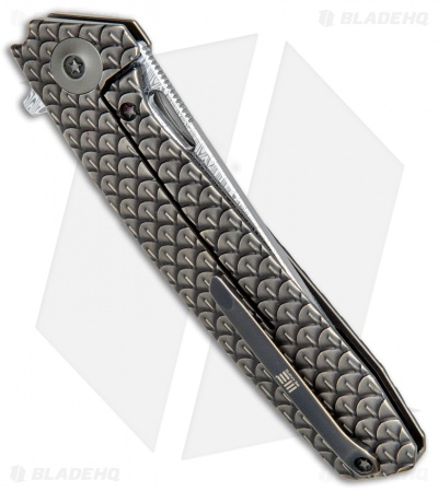 "WE Knife Co. 604DST Tanto Frame Lock Knife Bronze Ti (3.8"" Damascus)"