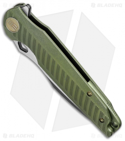 "WE Knife Co. 612E Frame Lock Knife Green Titanium (4"" Black/Satin)"