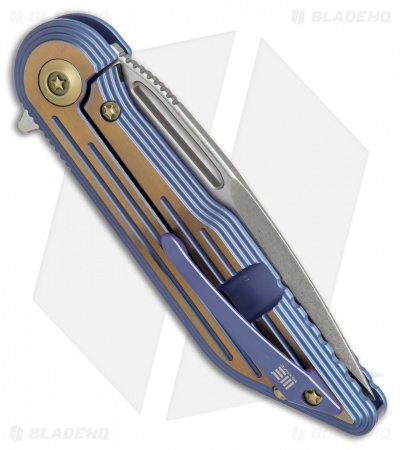 "WE Knife Co. 616J Resonance Frame Lock Knife Blue/Gold Titanium (3.1"" Stonewash)"