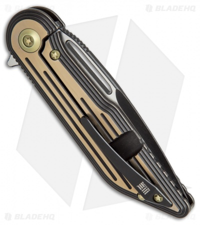 "WE Knife Co. 616K Resonance Frame Lock Knife Black/Gold Ti (3.1"" Black, Satin)"