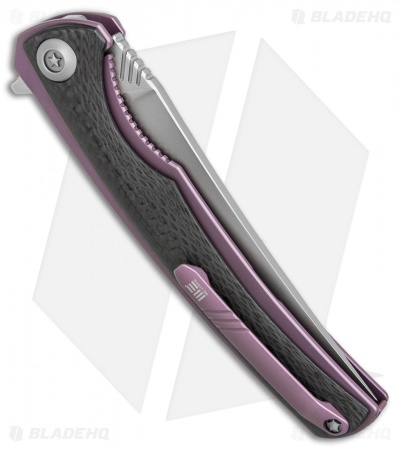 "WE Knife Co. 704CF-A Liner Lock Knife Carbon Fiber/Purple Ti (3.6"" Hand Rubbed)"