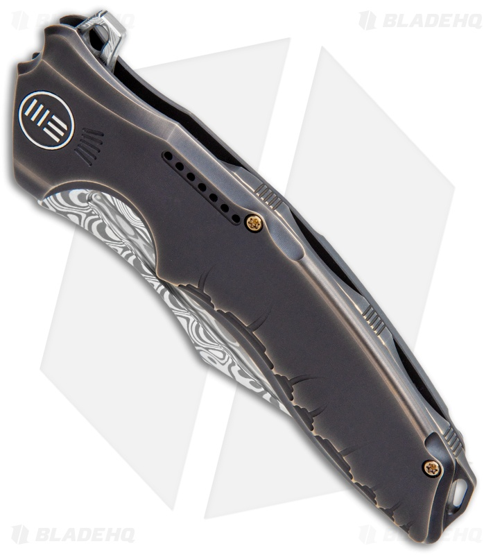 "WE Knife Co. Chimera Frame Lock Knife Bronze/Ti (3.9"" Damasteel) 814DS-2"
