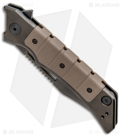 "Zero Tolerance Tim Galyean 0223 Frame Lock Knife Brown G-10/Ti (3.5"" Black)"