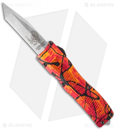 "Conquest Tactical Fury D/A OTF Automatic Knife Red Splash (3.75"" Stonewash)"