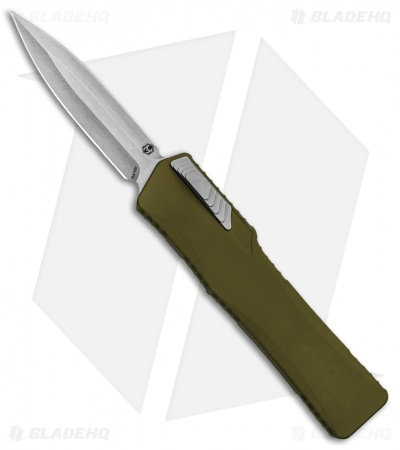 "Heretic Knives Cleric Dagger OTF Automatic Knife OD Green (3.5"" Stonewash)"