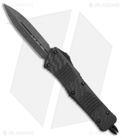 Microtech Combat Troodon D/E OTF Knife Carbon Fiber w/ Blue Ring HW (Damascus)