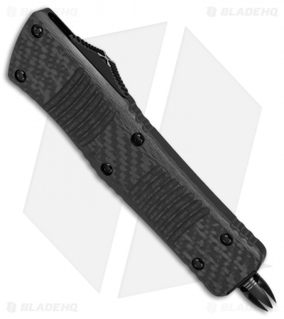 "Microtech Combat Troodon Hellhound Tanto OTF CF/Silver Ti HW (3.4"" Damascus)"