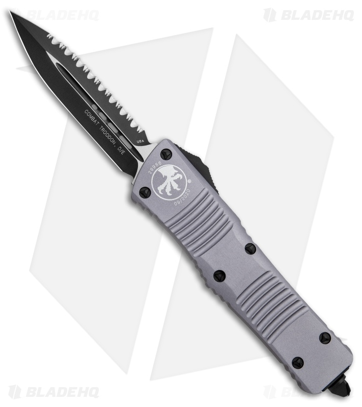 "Microtech Combat Troodon OTF Dagger Automatic Knife Gray (3.8"" Black Full Serr)"