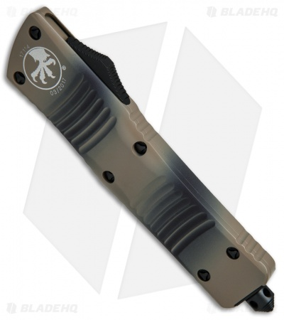 "Microtech Combat Troodon Bowie OTF Automatic Knife (3.8"" Tan Camo Serr) 146-2TC"