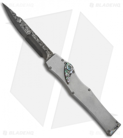Microtech Marfione Custom Stainless V Spear Point Knife Abalone (Damascus)