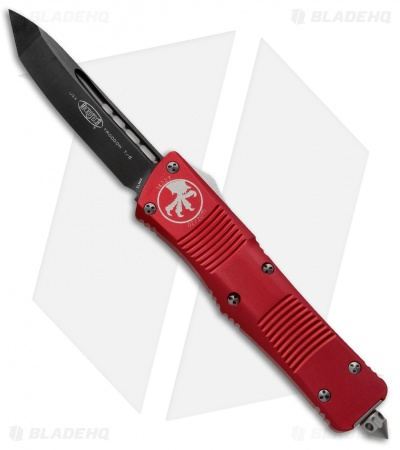 "Microtech Troodon Tanto OTF Automatic Knife Red (3"" Black) 140-1RD"