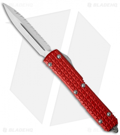 "Microtech Ultratech D/E OTF Automatic Knife Tri-Grip Red (3.4"" Satin Full Serr)"