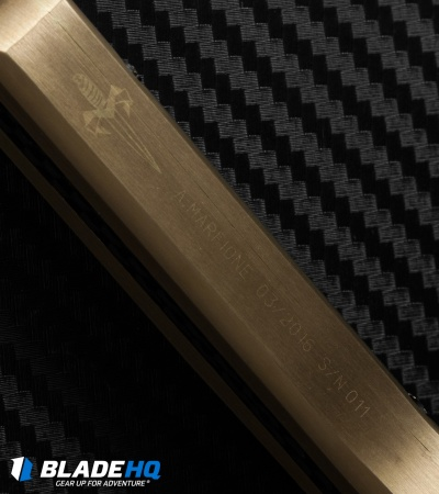 Marfione Custom Knives Ultratech OTF Knife Brass/Carbon Fiber (Mirror Polish)