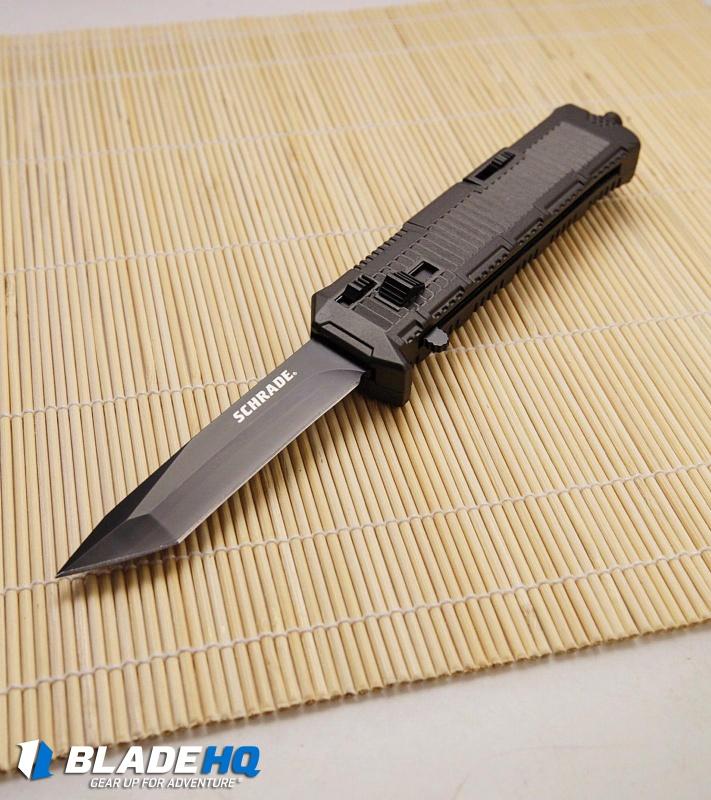 "Schrade Viper Tanto OTF Automatic Knife Black (3.375"" Black) SCHOTF8TB - Blade HQ"