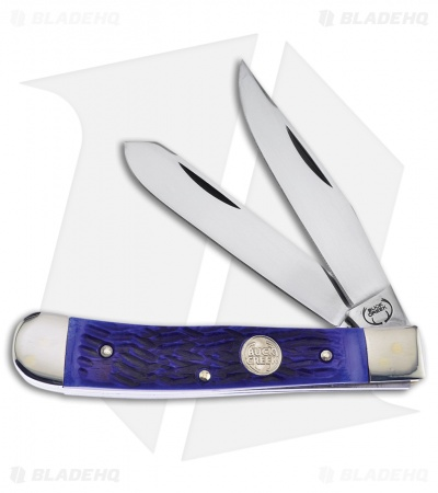 "Buck Creek Trapper Pocket Knife 4.125"" Blue Pick Bone"