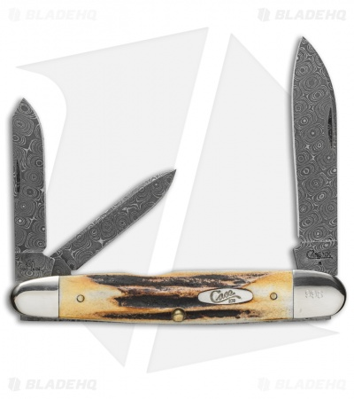 "Case Cigar Whittler Damascus Knife 4.5"" Stag (5391WH DAM) 91WH"