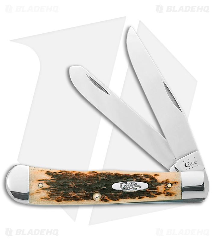 Case Trapper Knife 4 125 Quot Amber Bone 6254 Ss 0164 Blade Hq