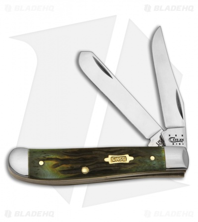 "Case Mini Trapper Knife 3.5"" Worm Groove Moss Bone (6207 SS) 41407"