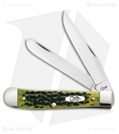 "Case Trapper Knife 4.125"" Jigged Green Bone (6254 SS) 10281"