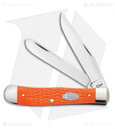 "Case Trapper Knife 4.125"" Jigged Orange Synthetic (6254 SS) 10470"