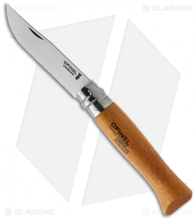 "Opinel Knives No. 9 Carbon Steel Knife Beech Wood (3.25"" Satin)"