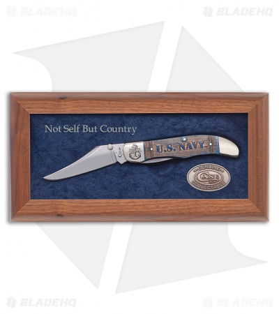 Case U.S. Navy Mid-Folding Hunter Commemorative Plaque (61265L SS) 17703