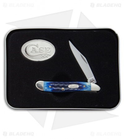 "Case Peanut Coca-Cola Pocket Knife 2.875"" Jigged Blue Bone (6120 SS) 64713"