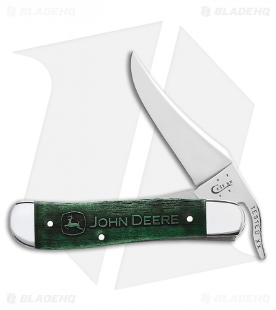 "Case John Deere Russlock Liner Lock Knife 4.25"" Smooth Green Bone 15753"