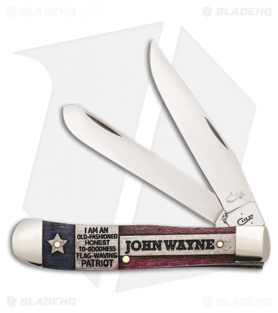 "Case Cutlery John Wayne Gift Set Trapper Traditional Pocket Knife 4.125"" Bone"