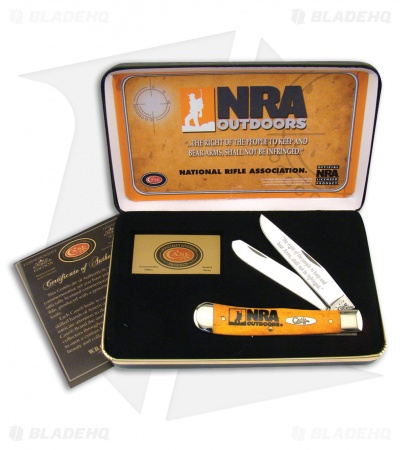 "Case Frost NRA Outdoors Trapper Knife 4.125"" Smooth Orange Bone (6254SS)"