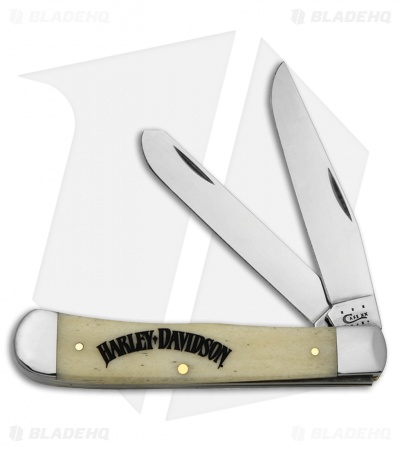 "Case Harley Davidson Trapper Knife 4.125"" Smooth Natural Bone (6254 SS) 52086"