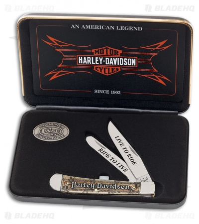 "Case Harley-Davidson Trapper Pocket Knife 4.125"" Natural Bone (6254SS) 52131"