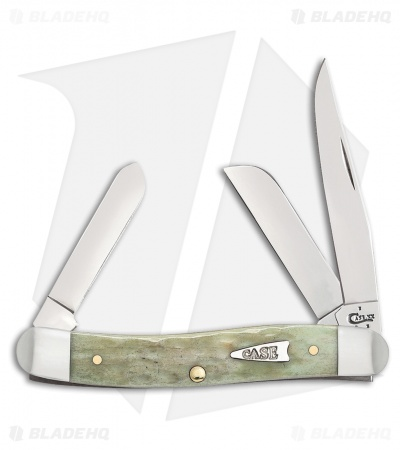"Case Medium Stockman Knife 3.625"" Jigged Mint Green Bone (6318 SS) 55401"