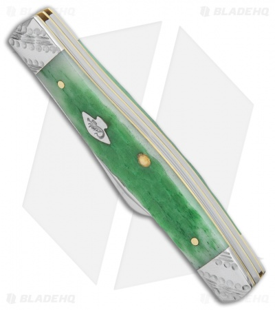 "Case Medium Stockman Knife 3.5"" Emerald Green Jigged Bone (63032 SS) 53253"