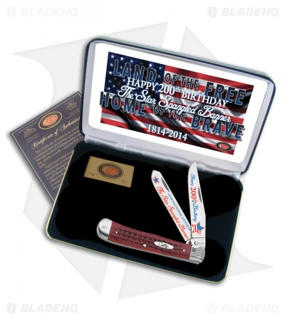 "Case Star Spangled Banner Trapper Knife 4.125"" Red Jigged Bone (6254SS)"