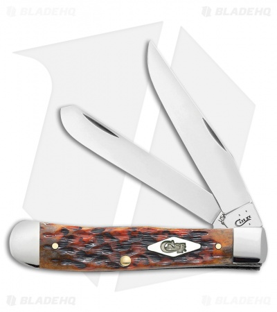 "Case Trapper Knife 4.125"" Peach Seed Jigged Harvest Moon Bone (6254SS) 13630"