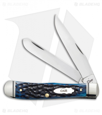 "Case Trapper Pocket Knife 4.125"" Ocean Blue Jigged Bone (6254SS) 46661"