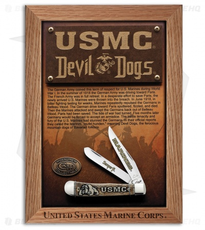 Case USMC Trapper Knife Devil Dogs Commemorative Plaque 13185