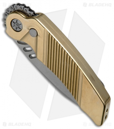 "Rat Worx Custom MRX Full-Size Automatic Knife Brass (3.6"" Hand Ground)"