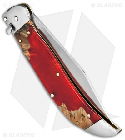 "Schatt & Morgan Express #71 Automatic Knife Red Shock Wood (4.25"" Satin)"